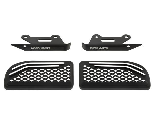 Voetsteunhoes, aluminium, zwart, voor duopassagiers voor Moto Guzzi MGX 21