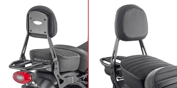 Sissybar met drager zwart voor Moto Guzzi V9 Roamer / V9 Bobber (Bj.16-) origineel Givi