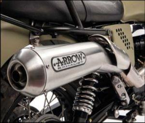 Origineel uitlaatsysteem Arrow (ABS versie), slip on, Euro 3 voor Moto Guzzi V7 II