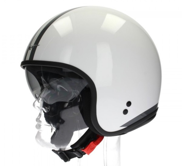Moto Guzzi jethelm, witte strepen, wit