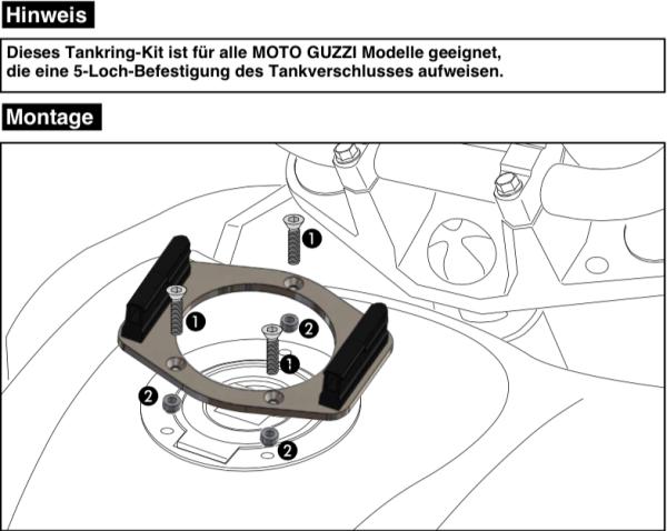 Tankring Lock-it 5 gaats bevestiging voor V 7 II Classic (Bj.15-16) origineel Hepco & Becker