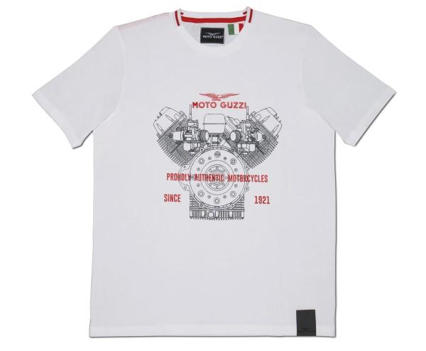 Moto Guzzi heren t-shirt klassiek katoen wit